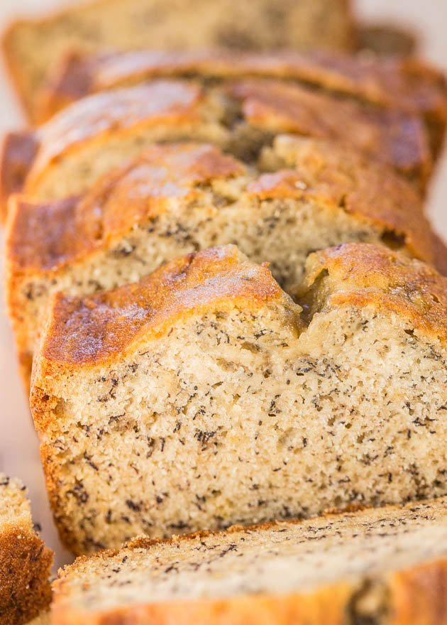 close up of sliced loaf of flours banana bread