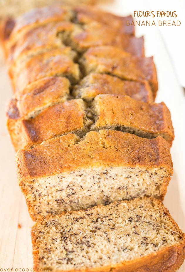 sliced loaf of Flour Bakery banana bread
