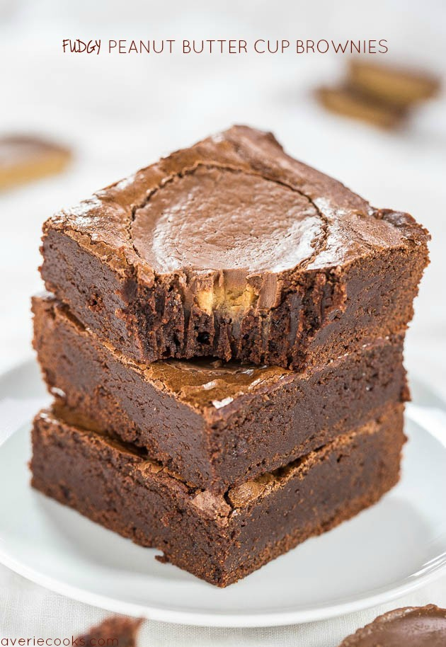 Fudgy Peanut Butter Cup Brownies - Easy, one-bowl, no mixer brownies with a full-size PB cup in every brownie! As fast as using mix and tastes way better!!
