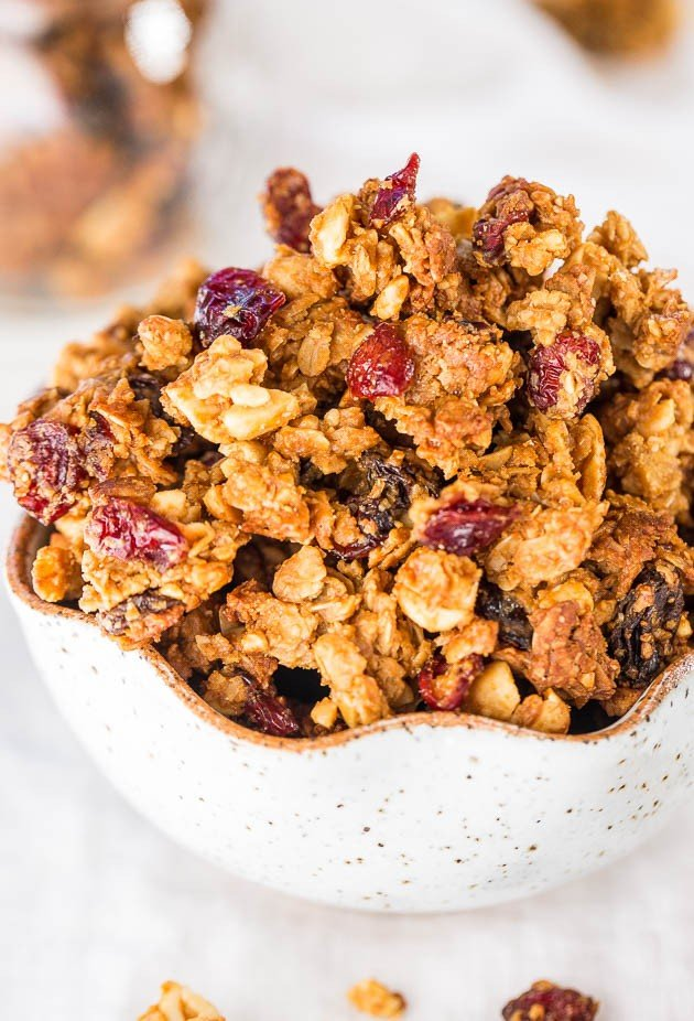 Peanut Butter and Jelly Granola (Whole Foods Copycat) - A copycat granola with PB&J flavors! You're going to want way more than a handful!!