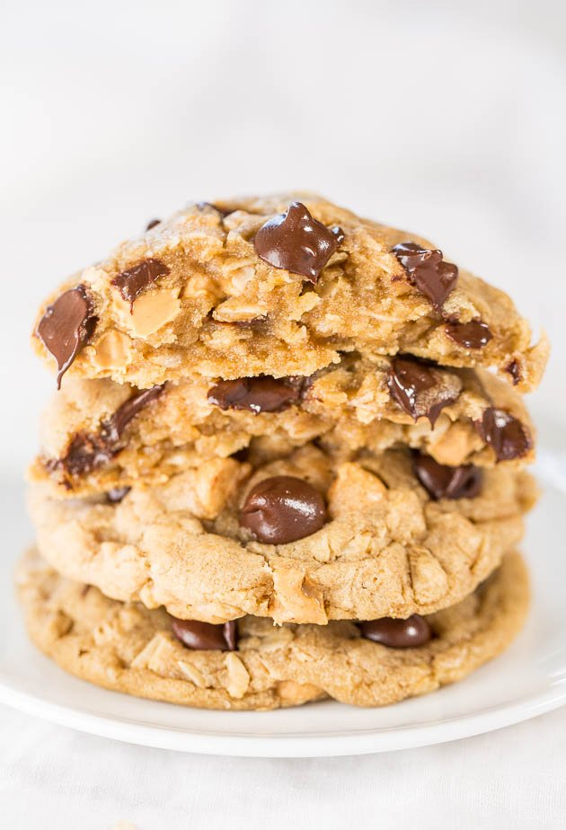 Soft & Chewy Peanut Butter Oatmeal Chocolate Chip Cookies