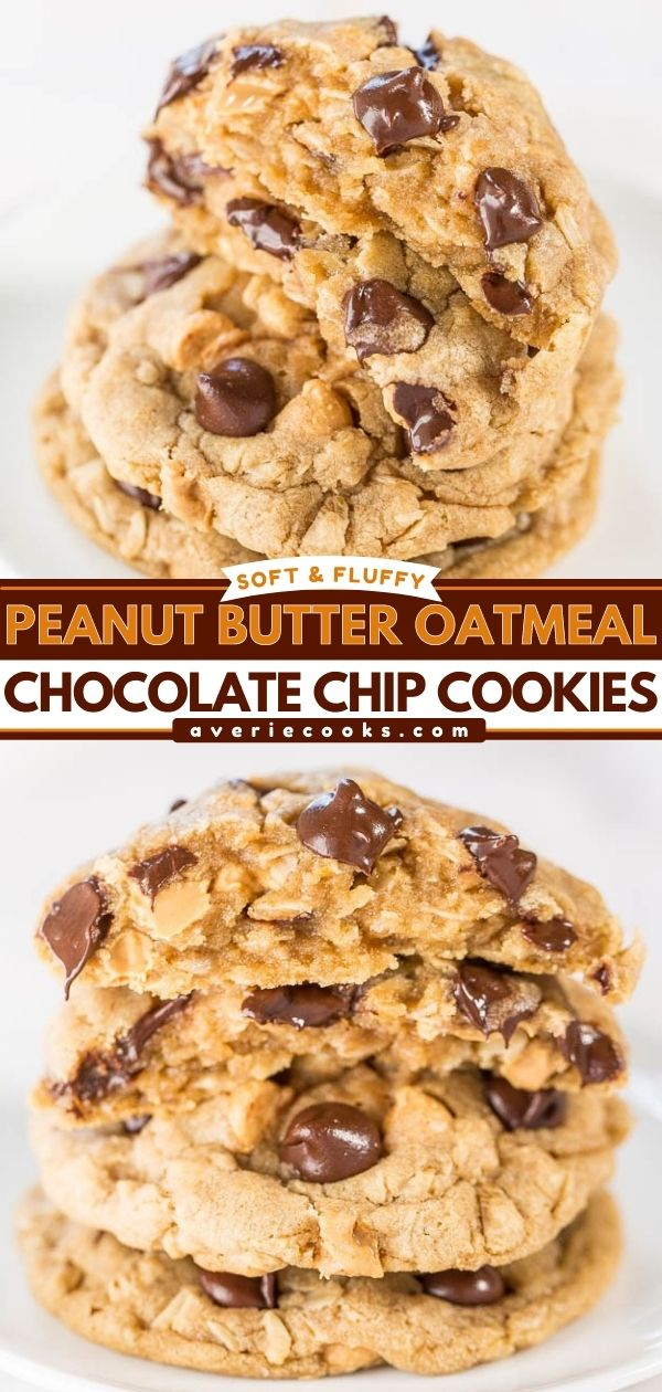 Soft and Chewy Peanut Butter Oatmeal Chocolate Chip Cookies — 3 favorite cookies combined into 1 so you don't have to choose!! Easy, no-mixer recipe, and always a hit!