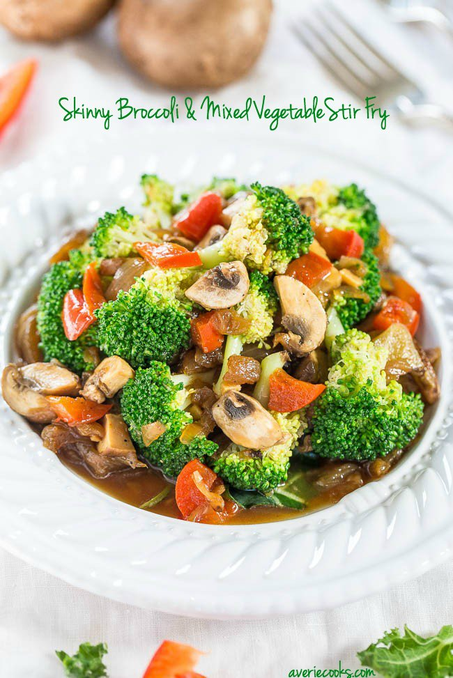 Skinny Broccoli and Mixed Vegetable Stir Fry - Skip takeout and make your own fast, easy, and healthy stir fry! Think of all the money and calories you