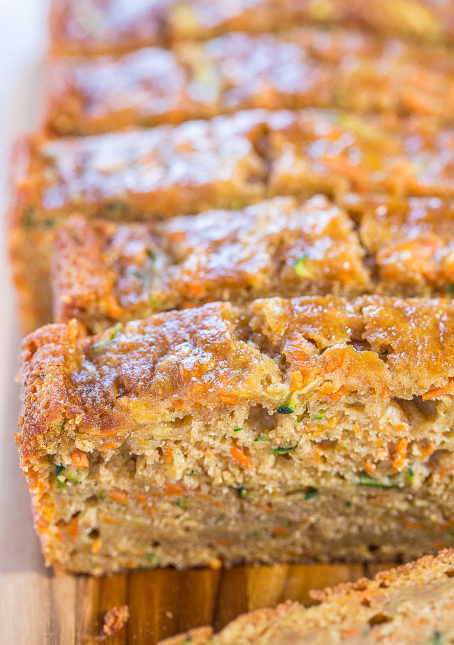 Close up of sliced Carrot Zucchini Bread