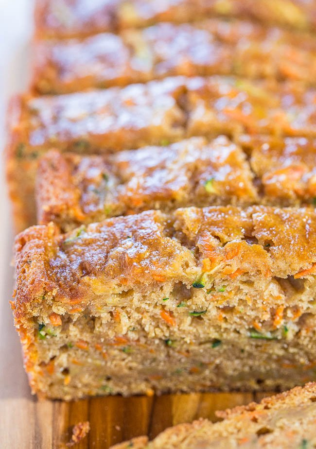 Zucchini Carrot Bread — Fast, easy, one bowl, no mixer!! Super soft, moist, and tastes so good you'll forget it's on the healthier side!!