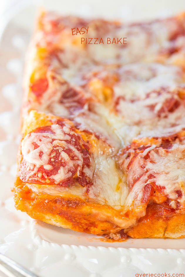 cheesy pizza bake on a white platter