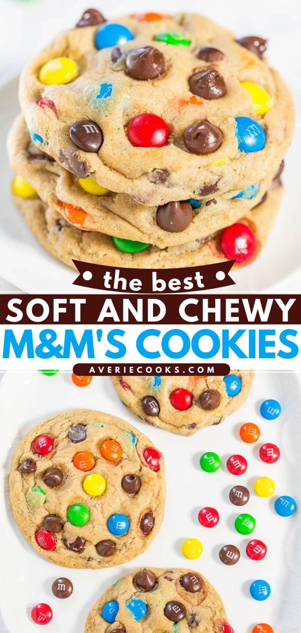 The Best M&M's Cookies — These bakery-style M&M's cookies are soft, chewy, buttery, and LOADED with M&M's and chocolate chips. No one can resist these cookies!