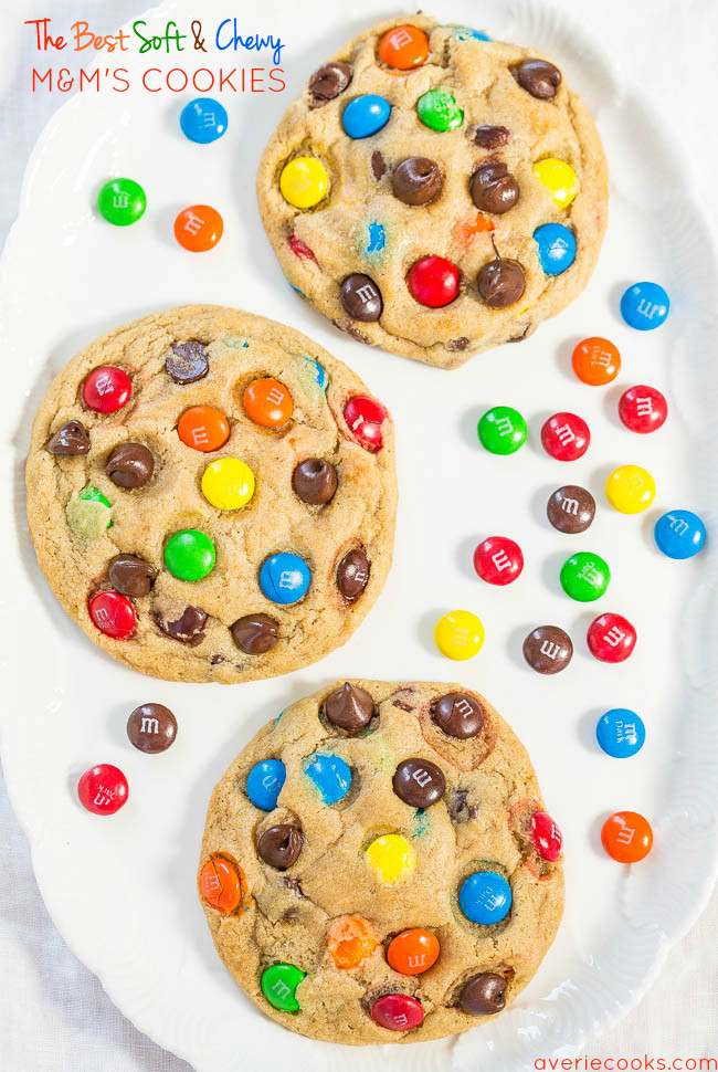 M&M's Cookies on plate with M&M's