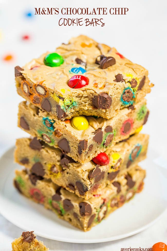 Chocolate Chip M&M'sBars— Soft buttery bars loaded with M&M's and chocolate chips are a guaranteed hit!! Fast, easy, foolproof, no mixer recipe that's so much simpler than making cookies!!