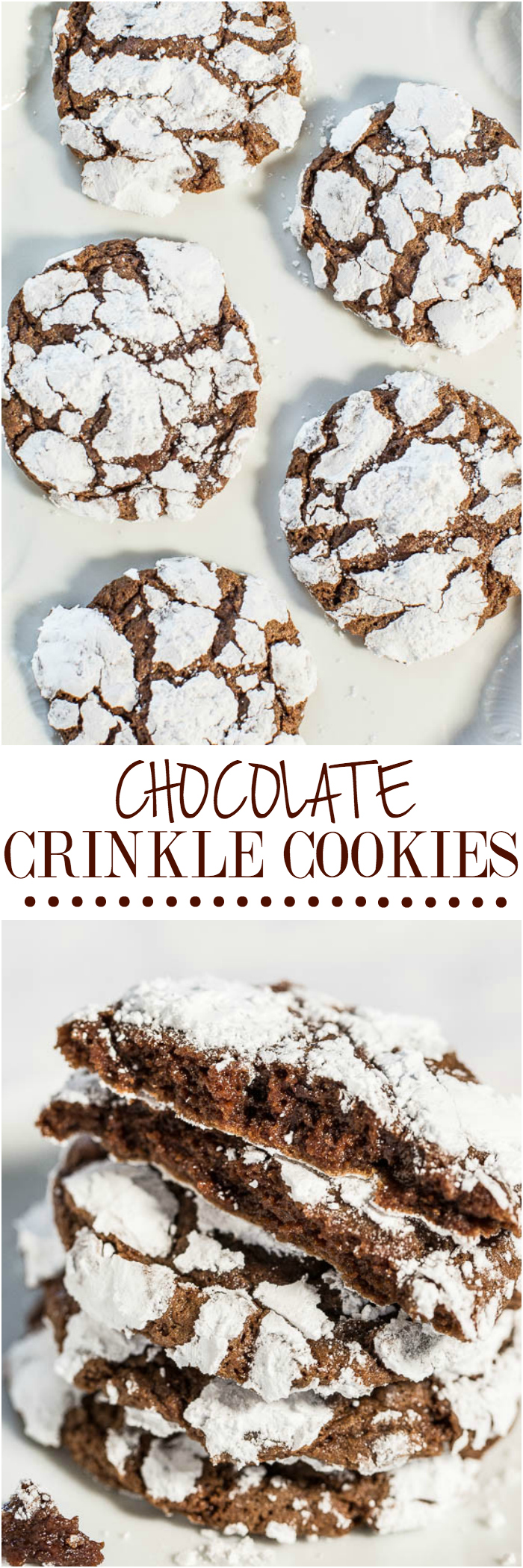 Chocolate Crinkle Cookies - Soft, ultra fudgy and there's NO butter and NO mixer needed! So easy and the crinkles make them irresistible!! Break them apart at the crinkly seams and start nibbling!!