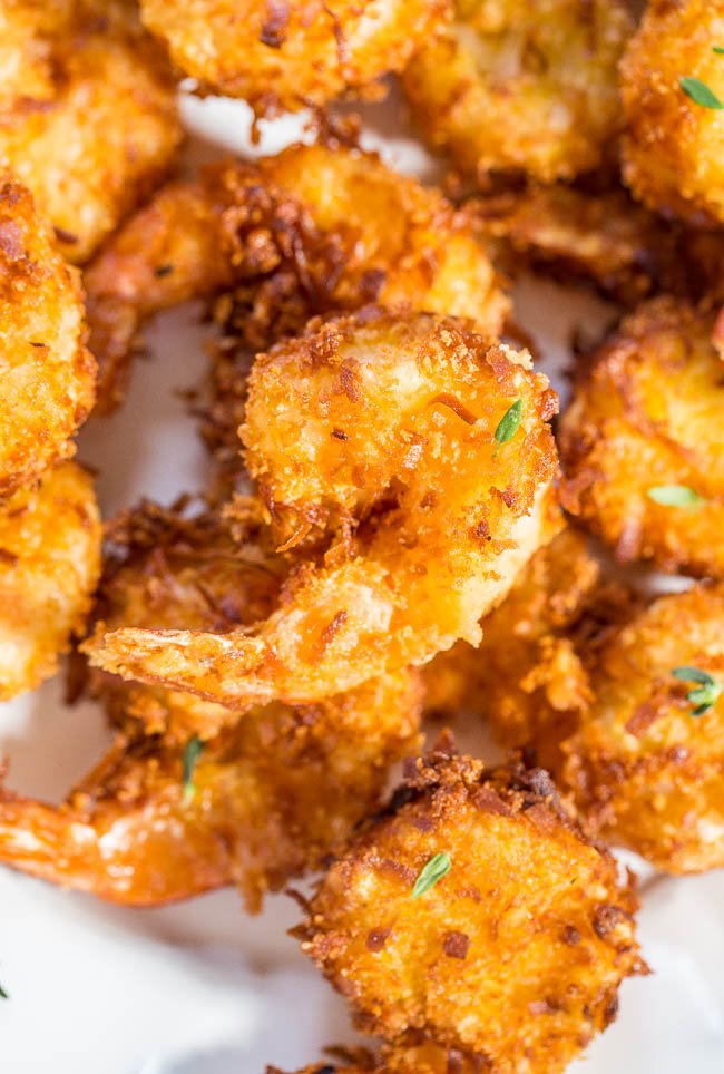 Coconut Shrimp piled on plate