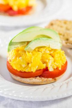 Open faced Ultimate Egg Muffin Breakfast Sandwich