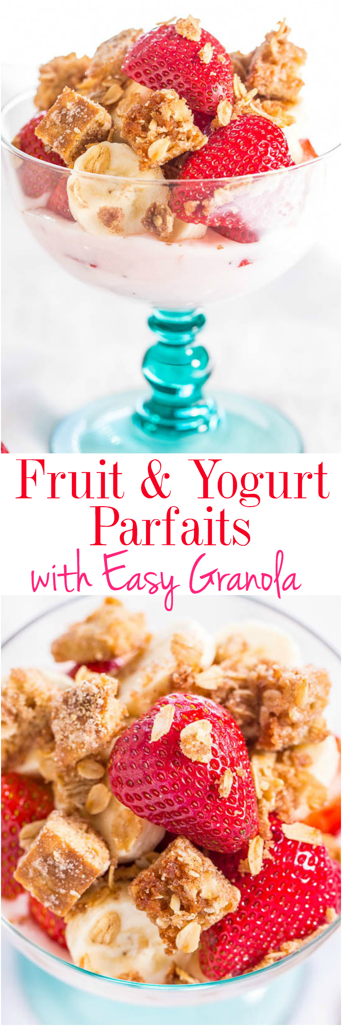 Fruit and Yogurt Parfaits with Easy Granola - Make your own healthy breakfast or snack in 15 minutes with lightened-up granola that's so good!! Bikini-friendly with almost no sugar and uses naturally sweet fruit!!
