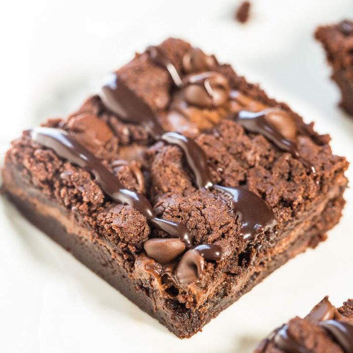 Fudgy Nutella Triple Chocolate Brownies