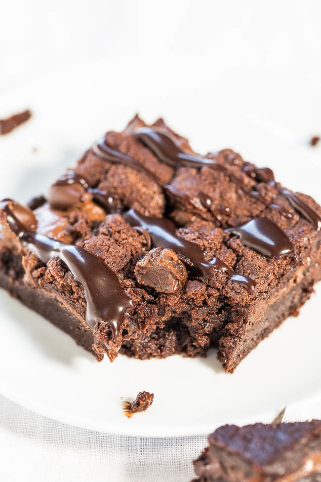 Fudgy Nutella Triple Chocolate Brownies - NO eggs, NO oil, NO gluten ...