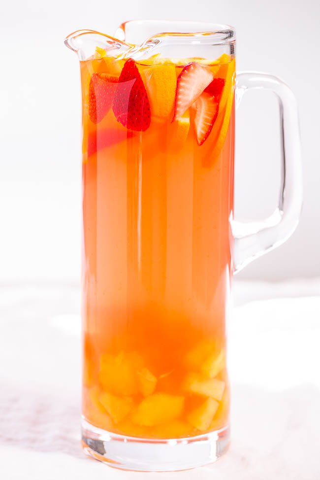 pitcher of Tropical Alcoholic Punch with fresh fruit