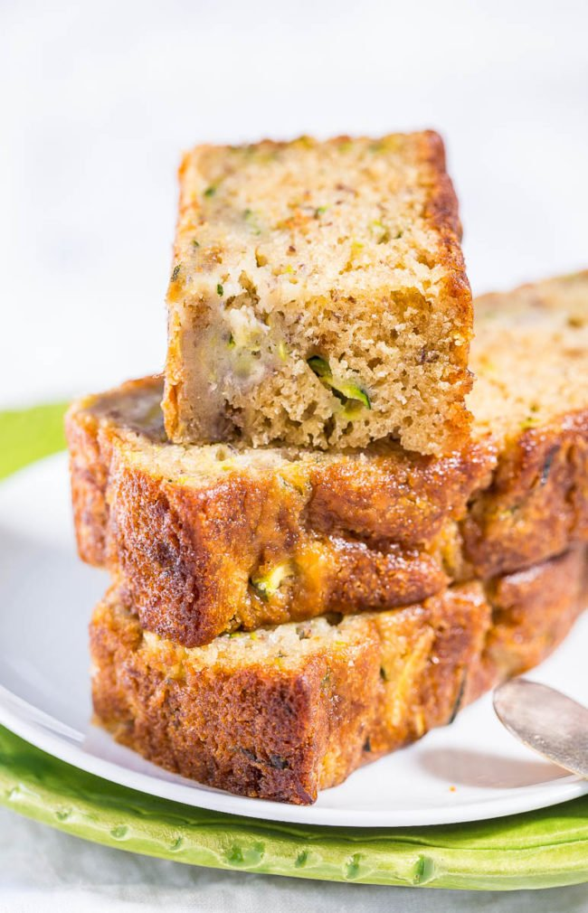 Sliced stacked Zucchini Banana Bread