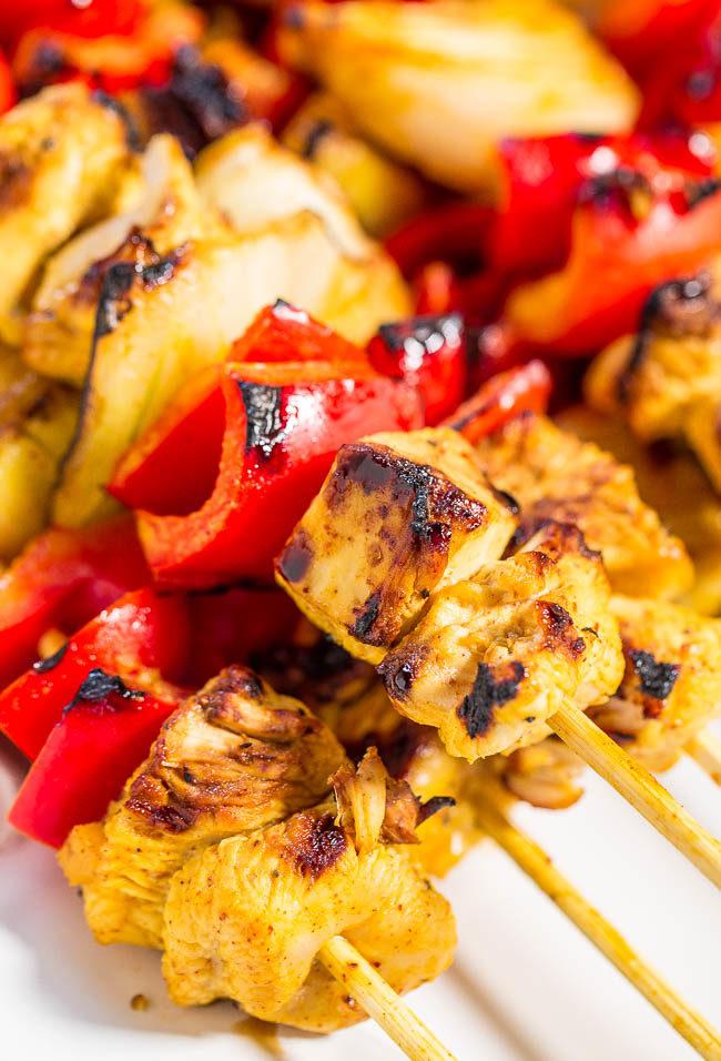 Grilled Honey Mustard Chicken Kabobs - Juicy chicken and crisp ...