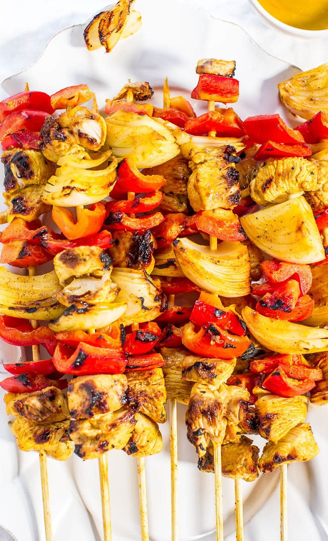 Grilled Honey Mustard Chicken Kabobs - Juicy chicken and crisp vegetables coated in a sweet-and-tangy sauce!! Great for parties or easy weeknight dinners! Everything tastes better grilled!!