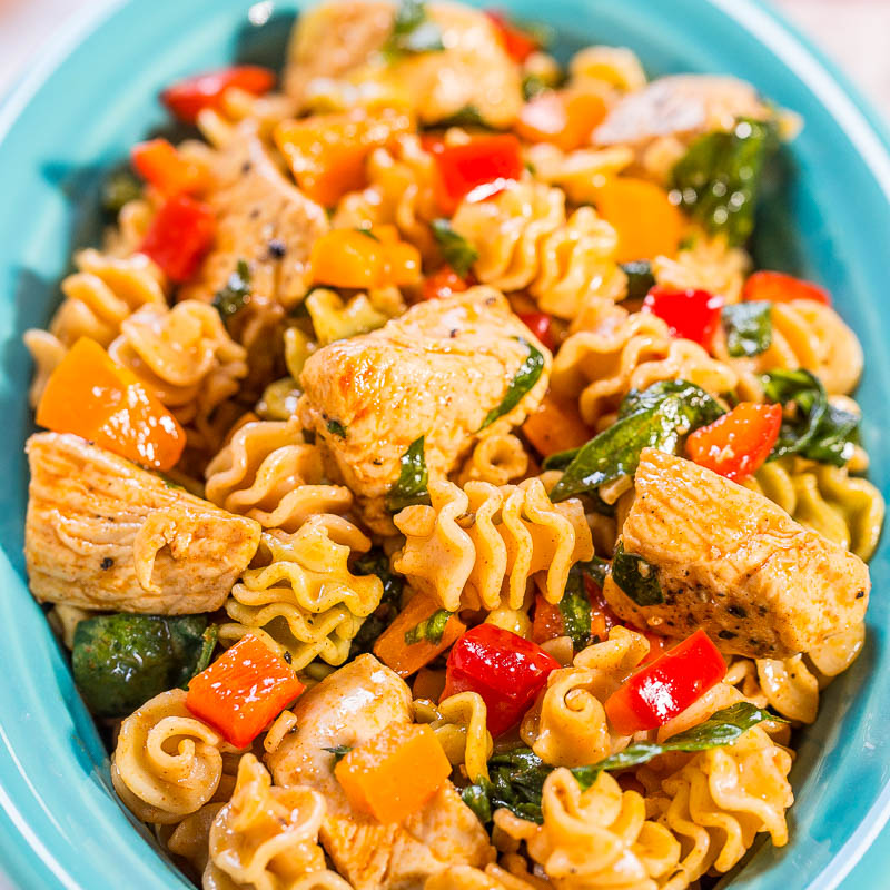 Smoky Chicken Peppers And Spinach Pasta Salad Averie Cooks