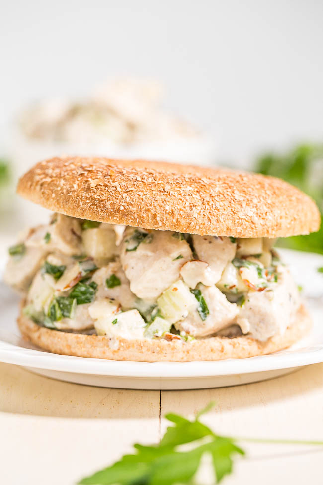 Healthy Chicken Salad— This healthy chicken salad recipe is made with Greek yogurt instead of mayo and is packed with flavor thanks to the green onions, apple, and spices.