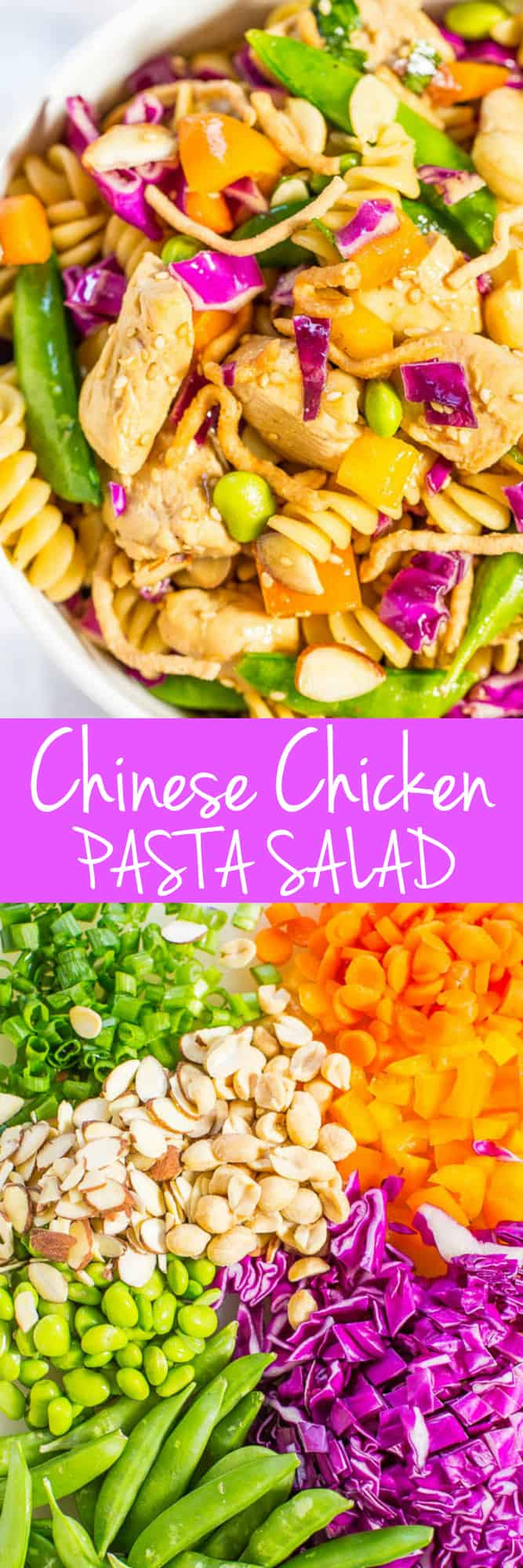 Asian Pasta Salad with Chicken — Big juicy chicken chunks and texture galore from the rainbow of crispy veggies! Fast, easy, fresh and healthy!! Great for picnics, potlucks, and easy dinners!!