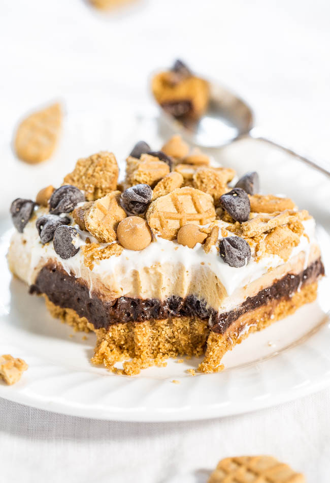Chocolate Peanut Butter Pudding Bars — Nutter Butter crust, chocolate pudding, and peanut butter cream cheese filling!! Easy, almost no-bake, and beyond AMAZING!! Lives up to their dreamy name!!