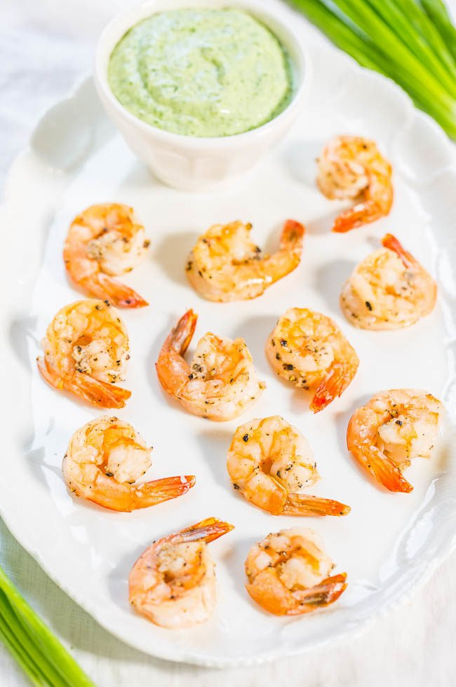 Easy Roasted Shrimp with Green Goddess Dip - Healthy, foolproof, and ready in 10 minutes!! The juicy shrimp and creamy dip are perfect together!! (it works great as a veggie dip or salad dressing too)
