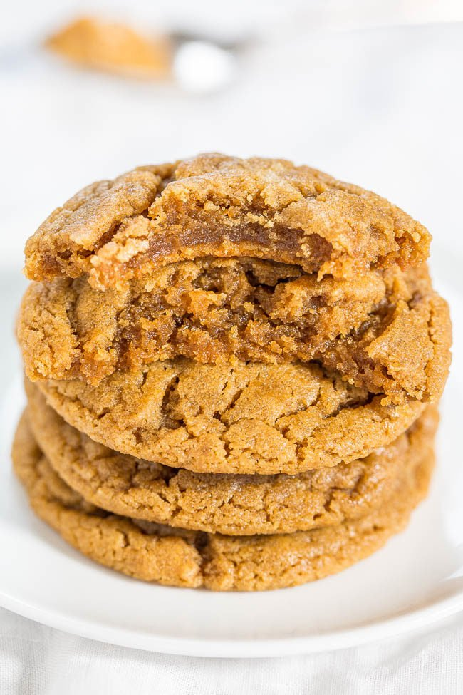 The BEST Flourless Peanut Butter Cookies stacked on plate