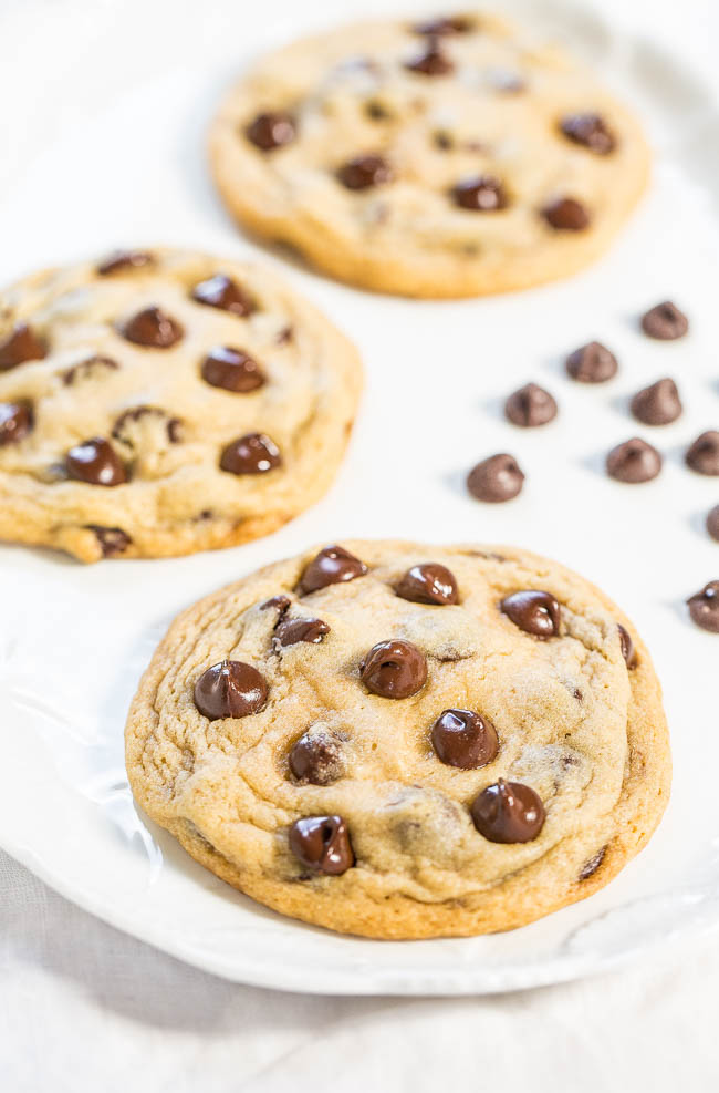 three hershey's chocolate chip cookies on a white platter