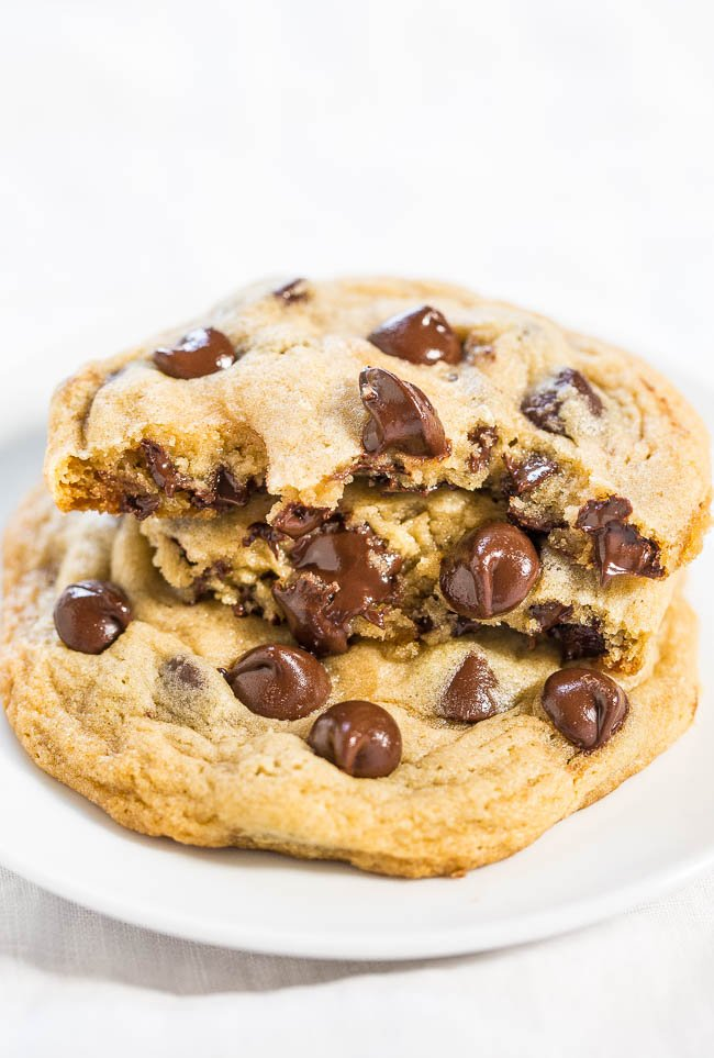 a stack of three hershey's chocolate chip cookies