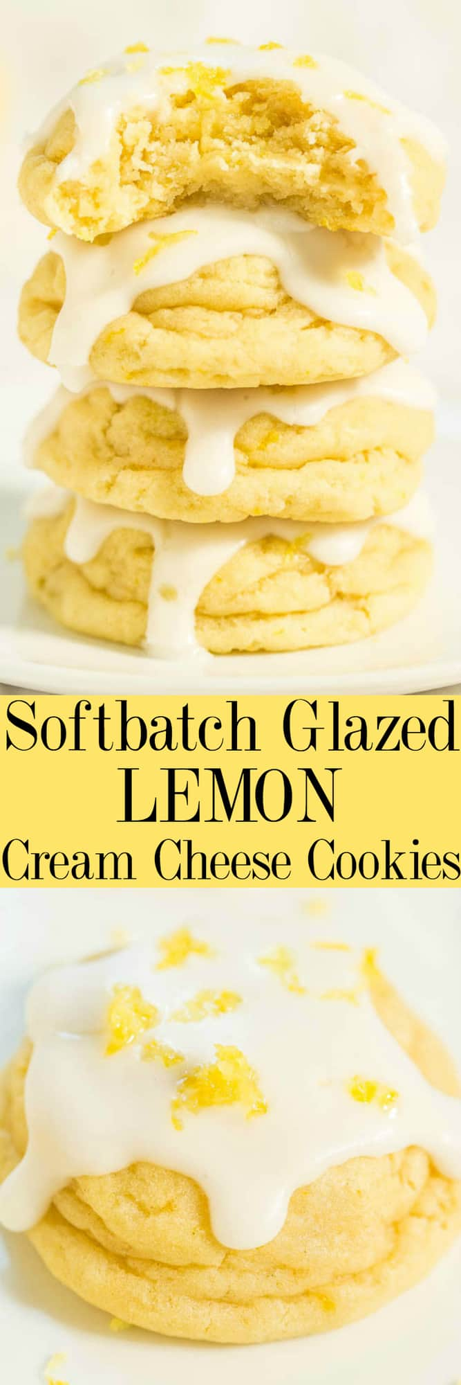 Softbatch Glazed Lemon Cream Cheese Cookies - Big, bold lemon flavor packed into super soft cookies thanks to the cream cheese!! Tangy-sweet perfection! Lemon lovers are going to adore these easy cookies!!