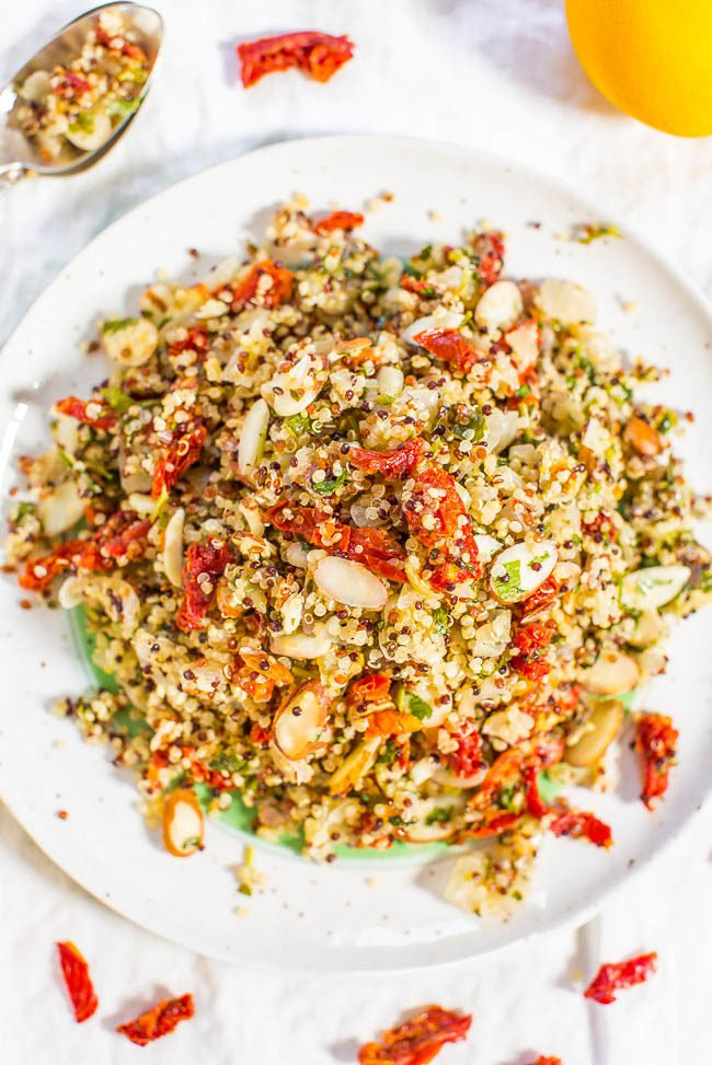 Twelve superfoods salad averie cooks lemon sun dried tomato and almond quinoa salad fast easy forumfinder