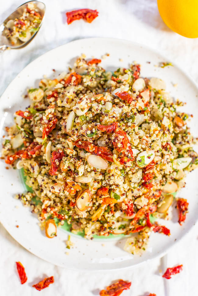 Twelve superfoods salad averie cooks lemon sun dried tomato and almond quinoa salad fast easy forumfinder Images