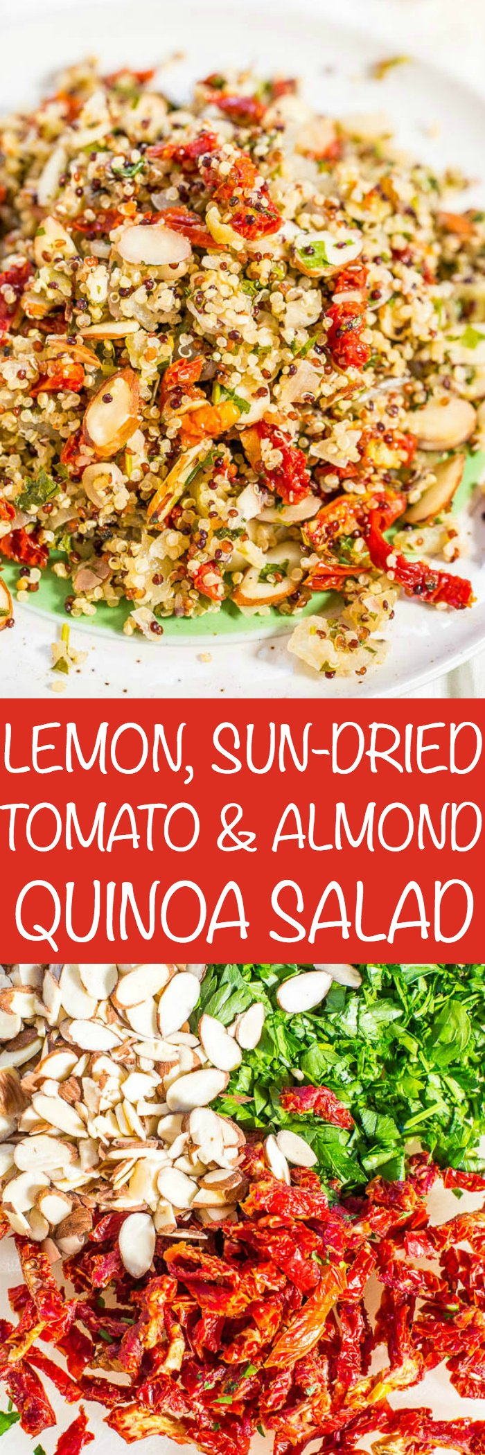 Zesty Quinoa Salad — Fast, easy, and fresh! Bright flavors and loads of texture! This clean-eating salad keeps you full and satisfied! Healthy never tasted so good!! (No mayo and great for outdoor events or lunch boxes!)