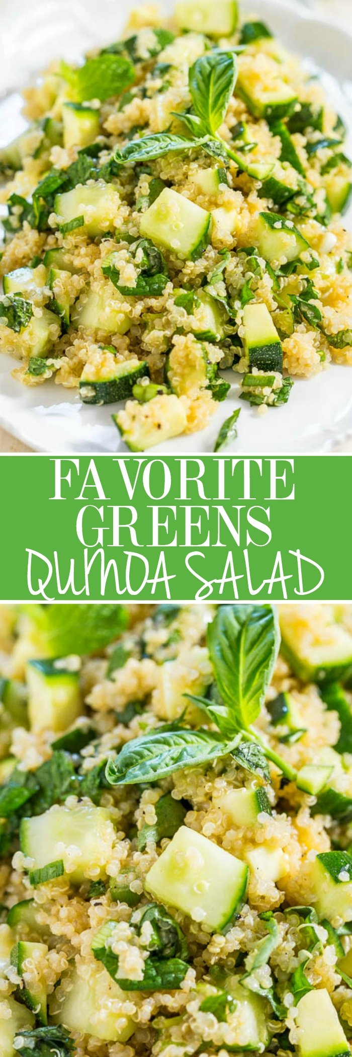 Favorite Greens Quinoa Salad - Cucumber, zucchini, basil, and mint tossed with a sweet-and-tangy honey-lemon vinaigrette! Healthy, easy, ready in 15 minutes, and the best way to eat your greens!!