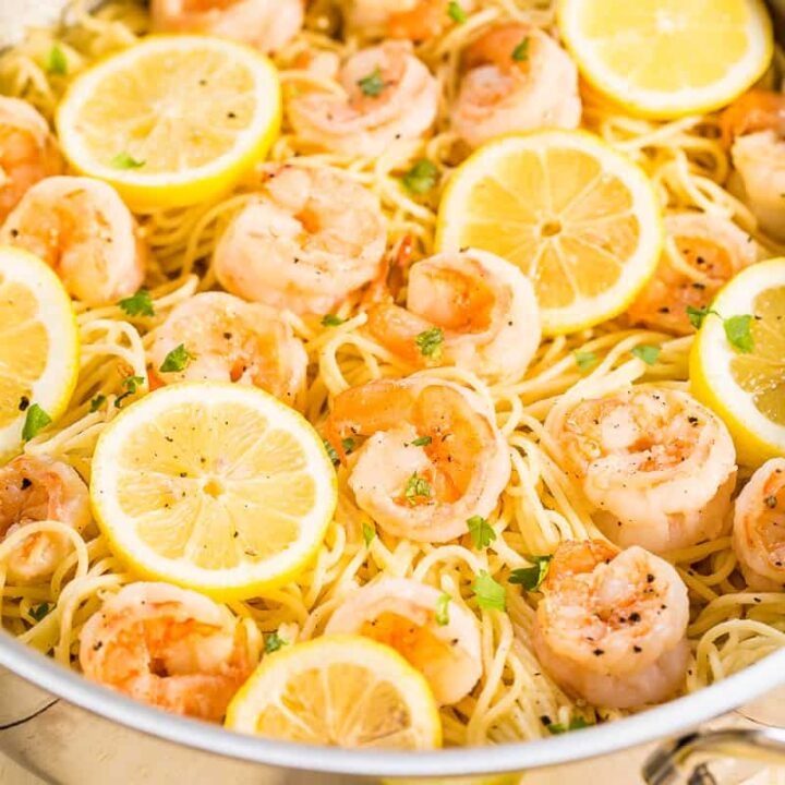 Garlic Shrimp Pasta cooking in skillet
