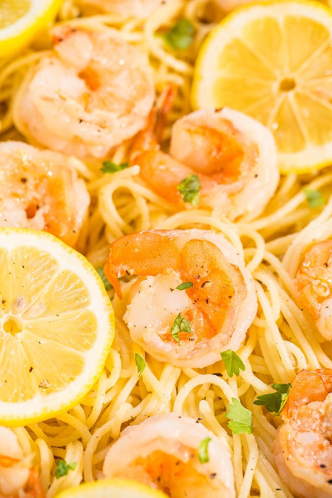 Closeup of Lemon Shrimp Pasta Dish