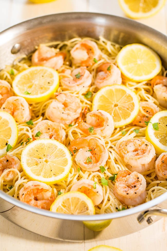 Lemon garlic shrimp with angel hair pasta in skillet