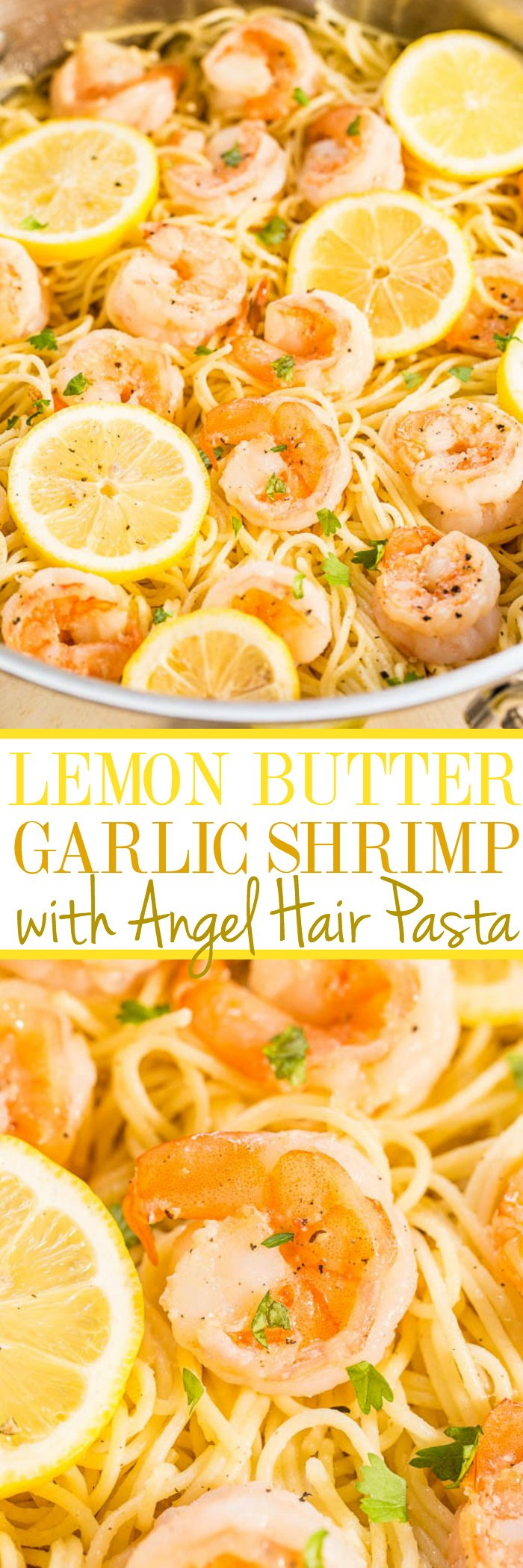 Lemon Butter Garlic Shrimp Pasta — Buttery noodles with juicy plump shrimp, flavored with lemon and garlic!! A family-friendly dinner recipe that's ready in 15 minutes and it's so EASY!!