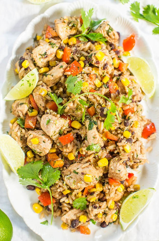 Lime Cilantro Chicken With Mixed Rice And Black Beans Averie Cooks