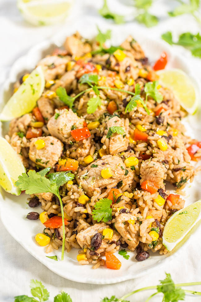 Lime Cilantro Chicken with Mixed Rice and Black Beans - Easy, one skillet, 15-minute meal! Tons of textures and bold flavors in every bite!! The lime makes this dish just POP!!