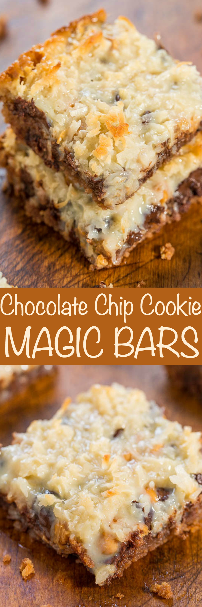 Chocolate Chip Cookie Magic Bars - The classic recipe made even better with a chocolate chip cookie crust!! One bowl, no mixer, fast and easy! Soft, chewy, gooey and SO GOOD!!