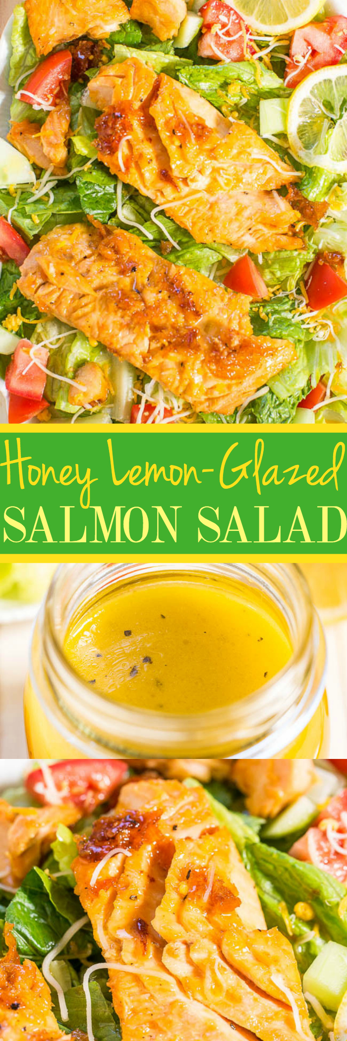 Honey Lemon-Glazed Salmon Salad - Coated with a tangy-sweet glaze that doubles as a light and bright salad vinaigrette! Fast, easy, fresh and healthy!! An awesome 15-minute meal!!