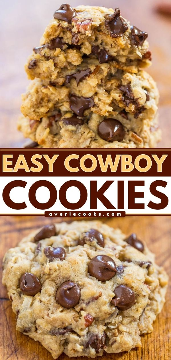 Cowboy Cookies— These cowboy cookies are packed with oats, chocolate chips, Cornflakes, and shredded coconut. This is a flexible recipe that you can make with different mix-ins to suit whatever is in your pantry!