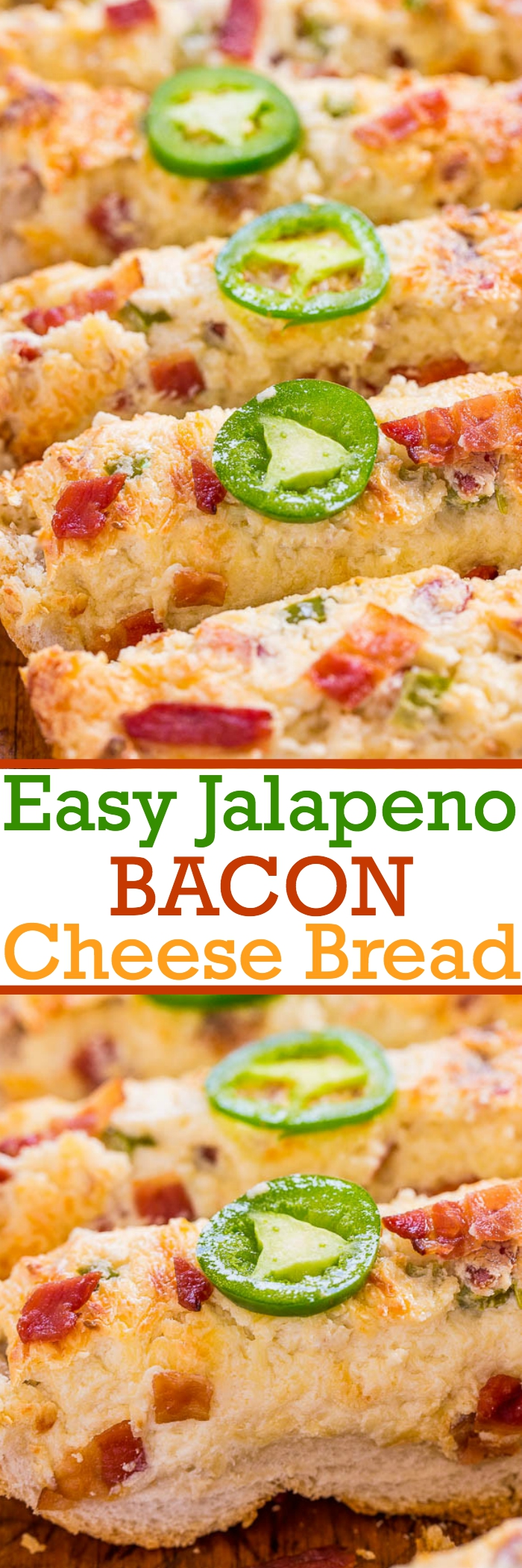 Easy Jalapeno Bacon Cheese Bread - Super cheesy, ready in 30 minutes, a gameday and crowd favorite that'll be devoured fast!! BACON makes everything BETTER!!