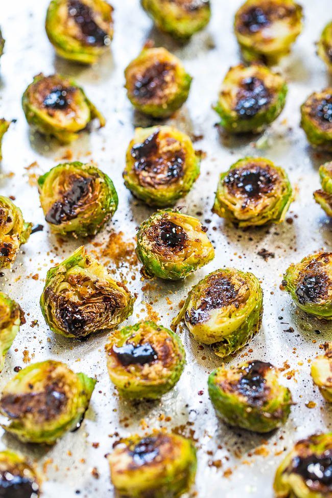 roasted Balsamic Brussels Sprouts on baking tray