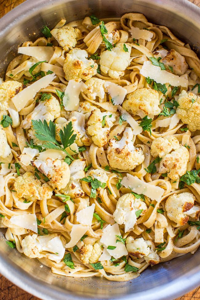 Browned Butter Cauliflower and Fettuccine with Parmesan - The roasted cauliflower is so good tossed with buttery noodles and cheese! Browned butter makes everything taste absolutely AMAZING!! Easy and ready in 30 minutes!