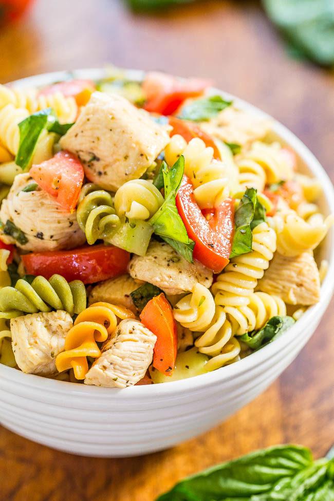 A white bowl of Italian Chicken Pasta Salad
