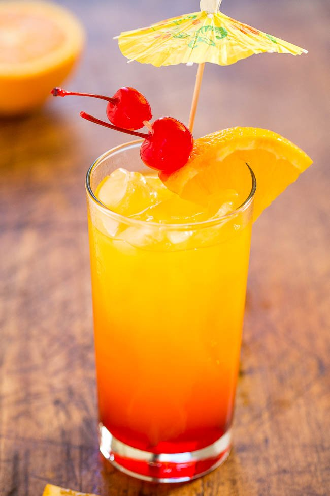 Tequila sunrise classic cocktail for Easy alcoholic mixed drinks